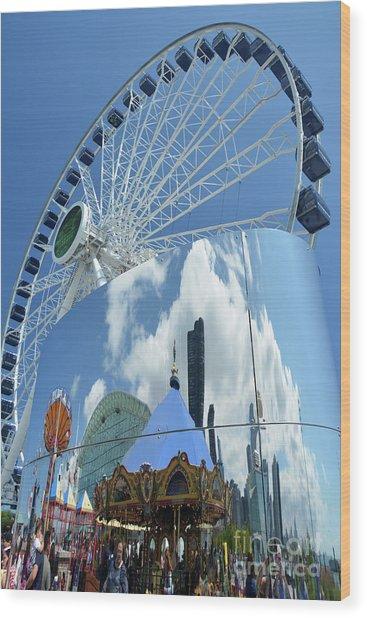 Ferris Wheel Wonder Wood Print by Andrea Simon