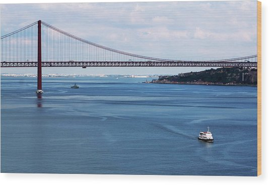 Wood Print featuring the photograph Ferry Across The Tagus by Lorraine Devon Wilke