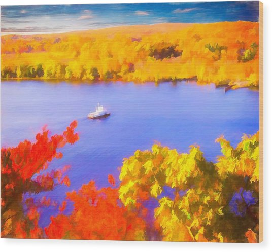 Ferry Crossing Connecticut River. Wood Print