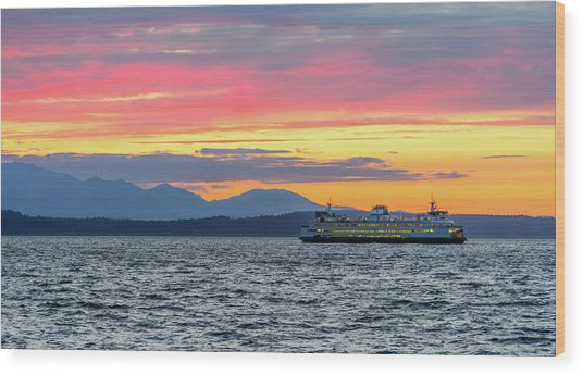 Ferry In Puget Sound Wood Print