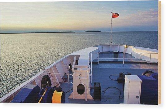 Ferry On Wood Print