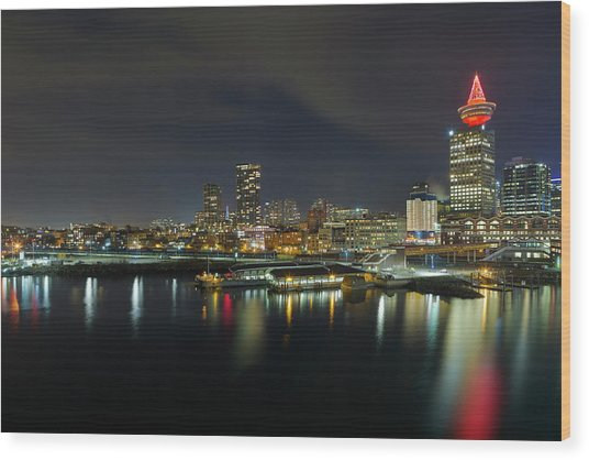 Ferry Terminal In Vancouver Bc At Night Wood Print