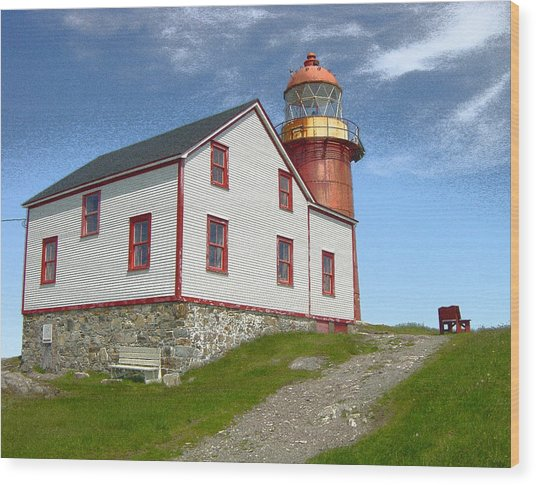 Ferryland Lighthouse Wood Print by Lorry Heverly