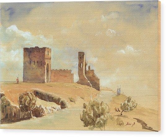 Fes Morocco Orientalist Painting Wood Print by Juan  Bosco