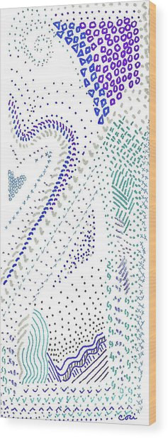 Festival In Blue And Silver Wood Print