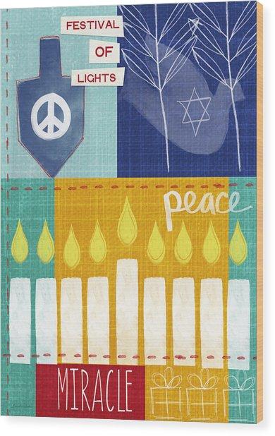 Festival Of Lights- Hanukkah Art By Linda Woods Wood Print