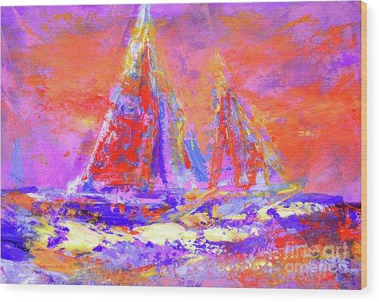 Festive Sailboats 11-28-16 Wood Print