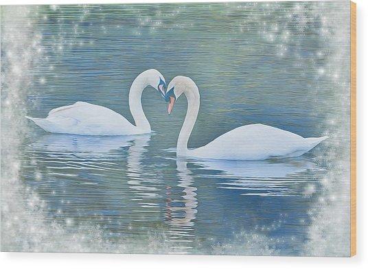 Festive Swan Love Wood Print