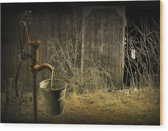 Fetching Water From The Old Pump Wood Print