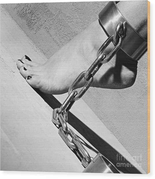 Fetish Shackled Or Cuffed Feet Wood Print