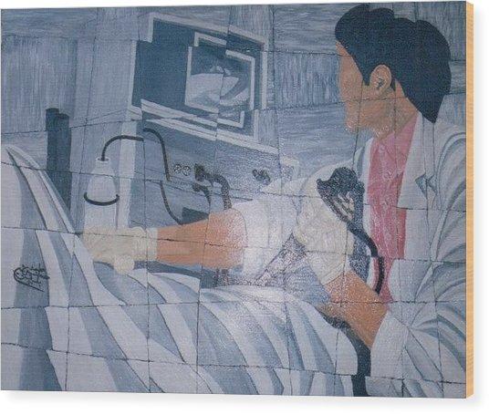 Fibroscopie 2005 Wood Print by Mohamed-Hosni Belkorchi