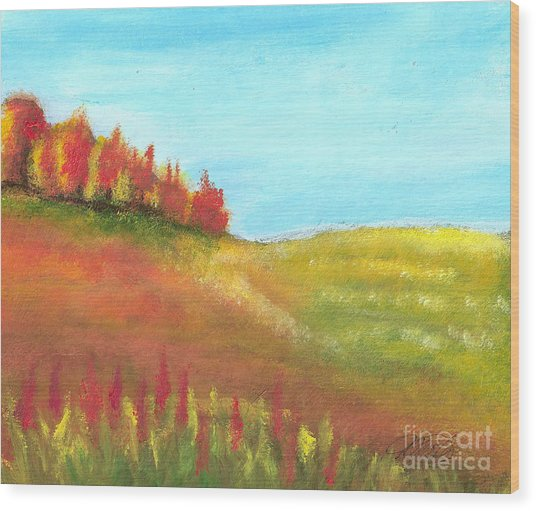 Field In Autumn Wood Print by Vivian  Mosley