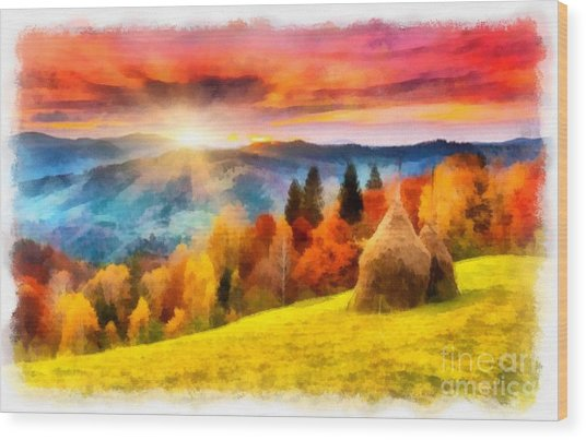 Field Of Autumn Haze Painting Wood Print