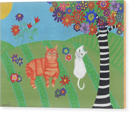 Field Of Cats And Dreams Wood Print