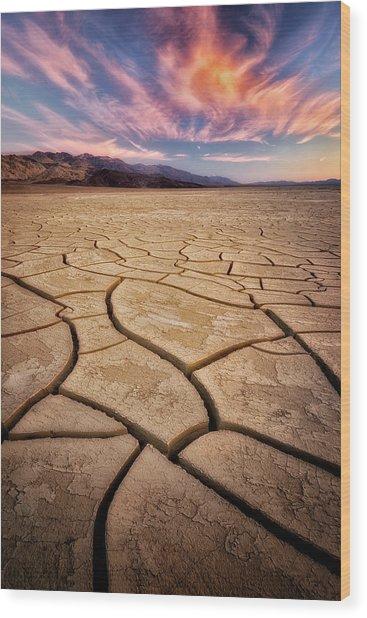 Field Of Cracks Wood Print