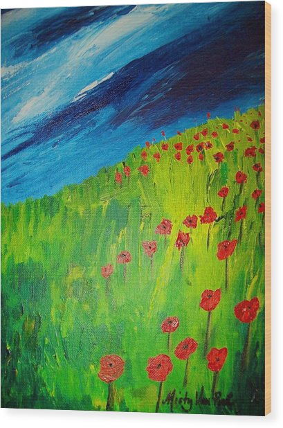 field of Poppies 2 Wood Print by Misty VanPool