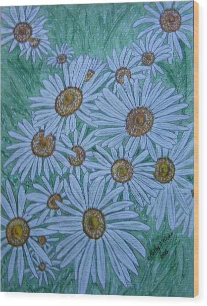 Field Of Wild Daisies Wood Print