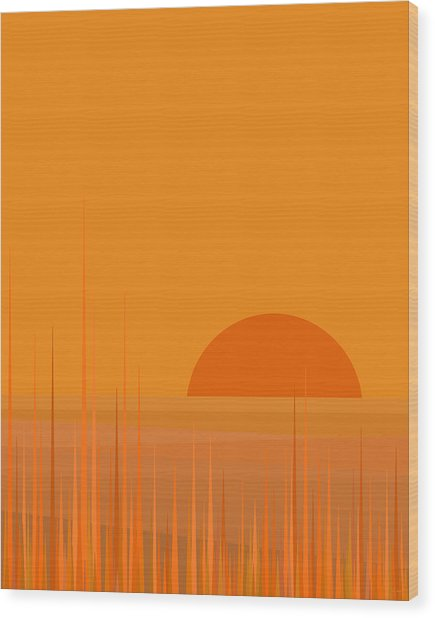 Field Sunset Wood Print