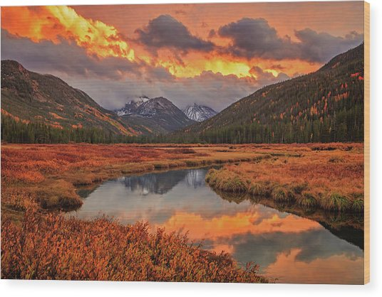 Fiery Bear River Sunset Wood Print by Johnny Adolphson