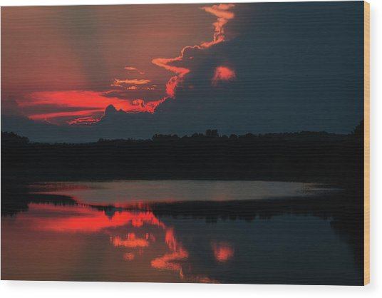 Fiery Evening Wood Print