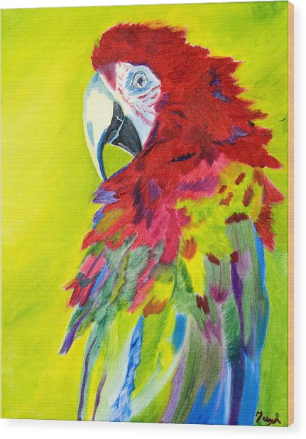 Fiery Feathers Wood Print