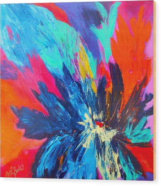 Fiery Flower Wood Print by Mary-Lynn Bastian