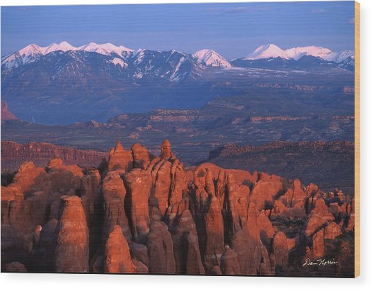 Fiery Furnace And La Sal Mountains Wood Print