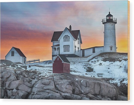 Fiery Sunrise At Cape Neddick Lighthouse Wood Print