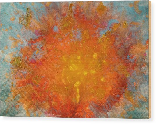 Fiery Sunset Abstract Painting Wood Print