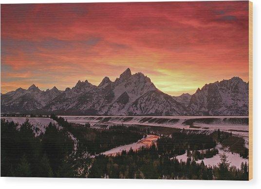 Fiery Sunset On Snake River Wood Print