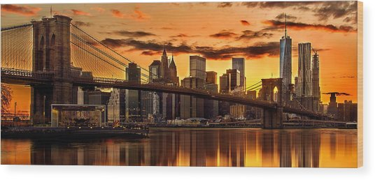 Fiery Sunset Over Manhattan  Wood Print