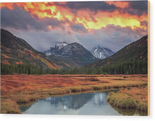 Fiery Uinta Sunset Wood Print