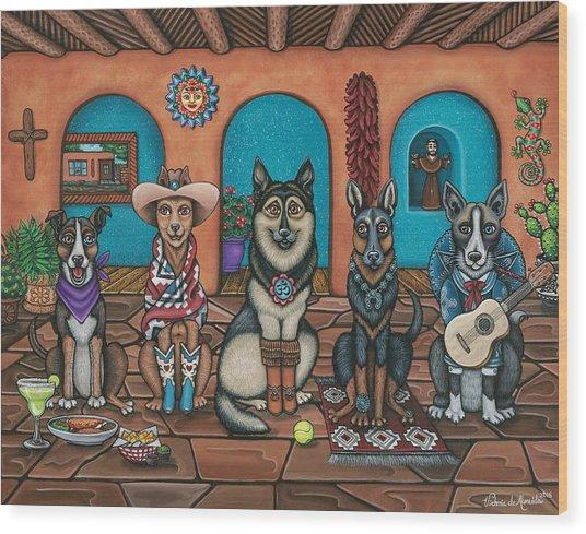 Fiesta Dogs Wood Print