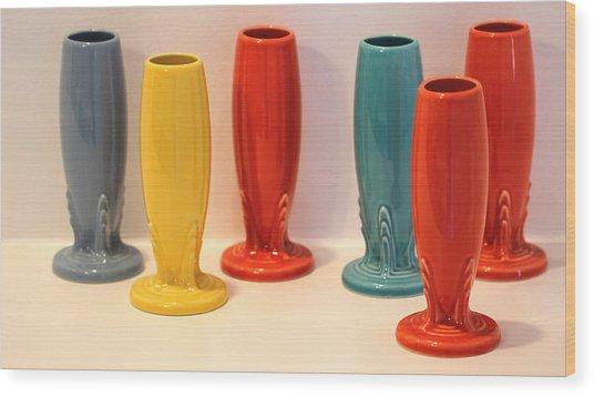 Fiestaware Bud Vases Wood Print