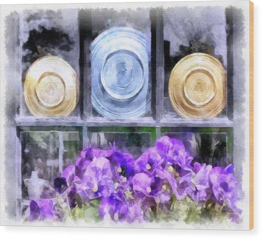 Fiestaware Window Display With Pansies Wood Print