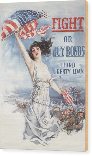 Fight Or Buy Bonds Wood Print