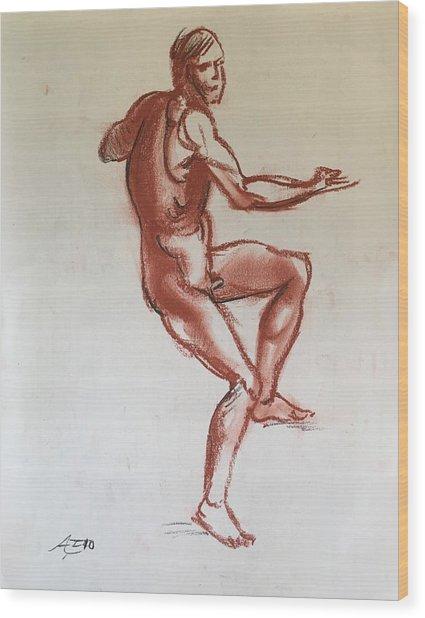 Figure Sketch Wood Print by Alejandro Lopez-Tasso