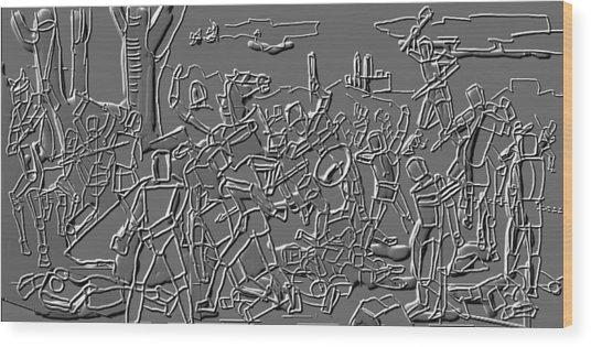 Figures In Battle Wood Print