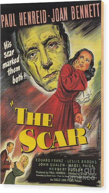 Film Noir Poster  The Scar Wood Print