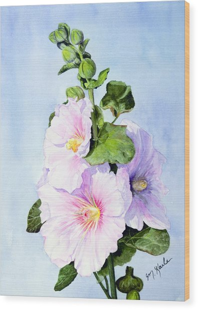 Finally Hollyhocks Wood Print