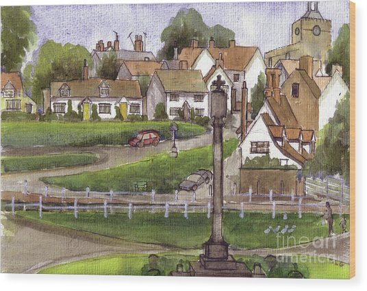 Finchingfield Essex Uk Wood Print by Dianne Green