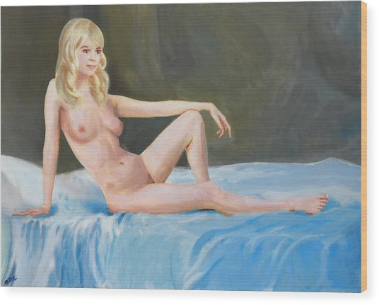 Fine Art Female Nude Multimedia Acrylic Oil Sitting With Blue Wood Print by G Linsenmayer