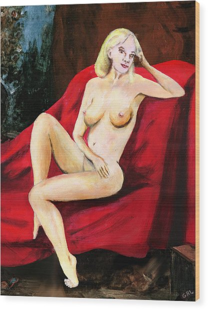 Fine Art Female Nude Seated On Red Drapery Wood Print by G Linsenmayer