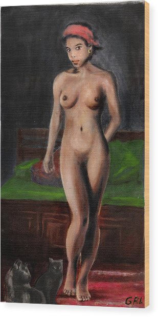 Fine Art Female Nude Standing With Cats Wood Print