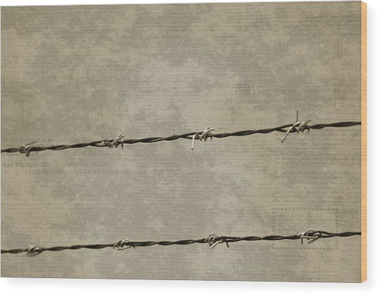 Fine Art Photograph Barbed Wire Over Vintage News Print Breaking Out  Wood Print