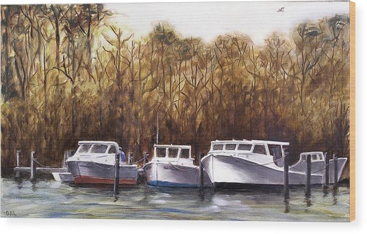 Fine Art Traditional Oil Painting 3 Workboats Chesapeake Bay Wood Print