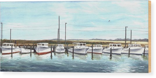 Fine Art Workboats Kent Island Chesapeak Maryland Original Oil Painting Wood Print