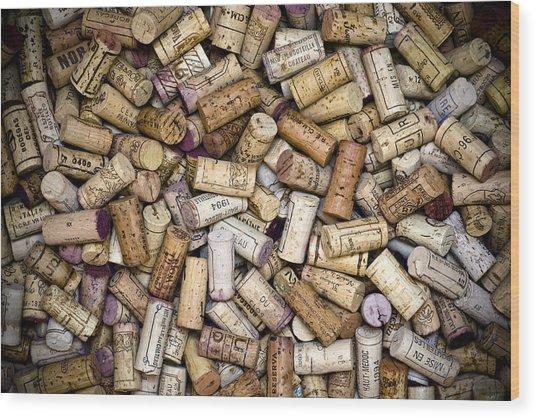 Fine Wine Corks Wood Print