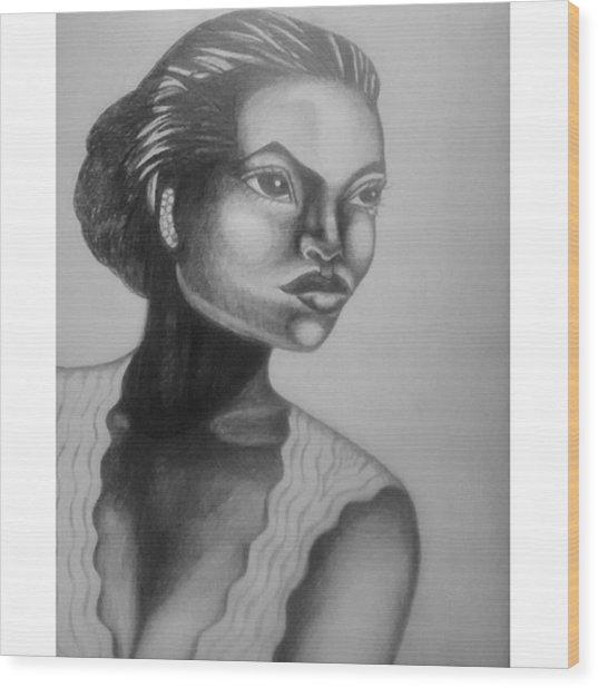 Finished My Eartha Kitt Portrait Wood Print
