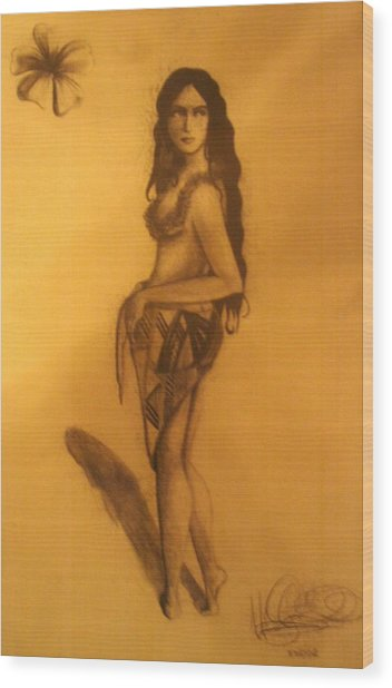 Wood Print featuring the drawing Fi'on-hu by Michelle Dallocchio